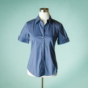 Theory S Aniston Short Sleeve Button Down Top